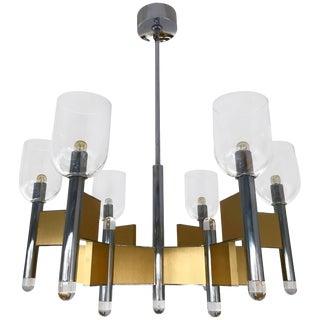 Chandelier Brass Chrome Glass by Sciolari. Italy, 1970s For Sale