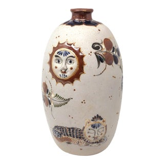 Hand-Painted Sun, Moon and Cats Tonala Pottery Vase For Sale