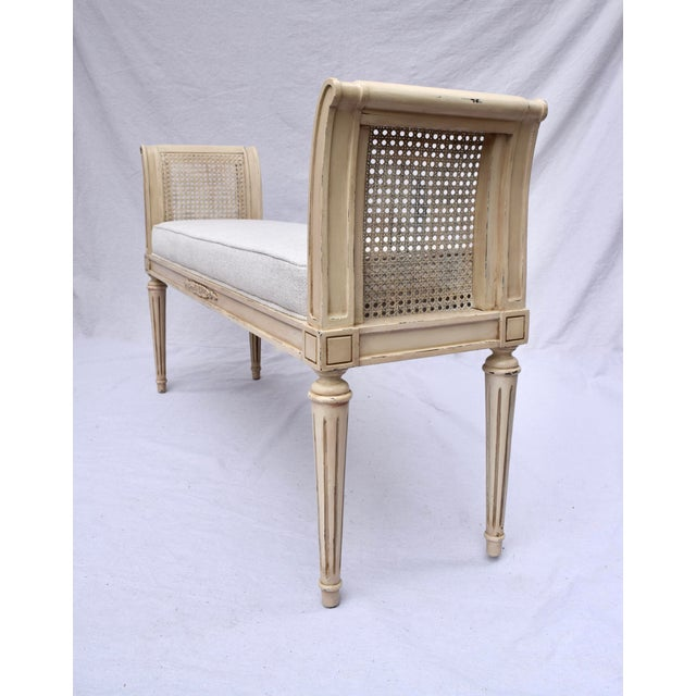 Early 20th Century Vintage Louis XVI-Style Caned Scroll Arm Bench For Sale - Image 5 of 7