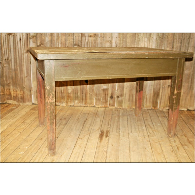 Vintage Industrial Wood Library Table - Image 4 of 11