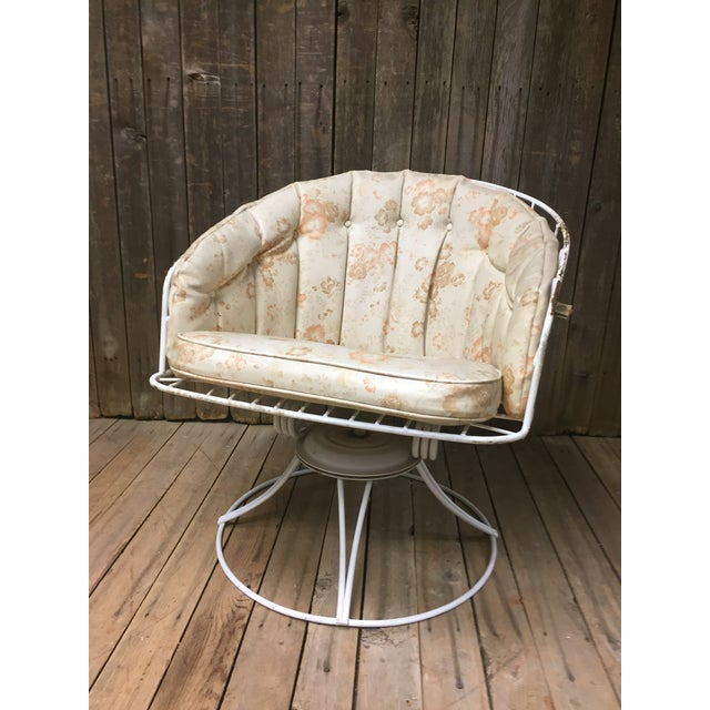 Mid Century Modern White Homecrest Swivel Metal Chair For Sale - Image 10 of 11