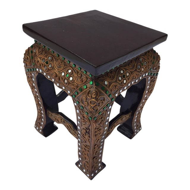 Strange Asian Small Low Wooden Gilded Table Stand Customarchery Wood Chair Design Ideas Customarcherynet