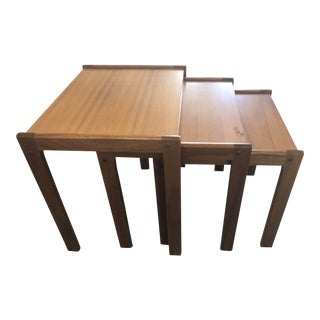 1970s Boho Chic Teak Nesting Tables- Set of 3 For Sale