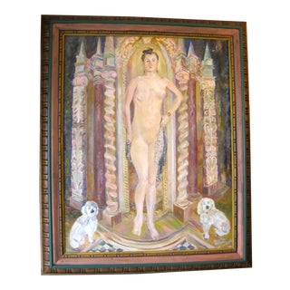 Vintage Mid-Century Annita Delano Nude Portrait With Dogs Painting For Sale