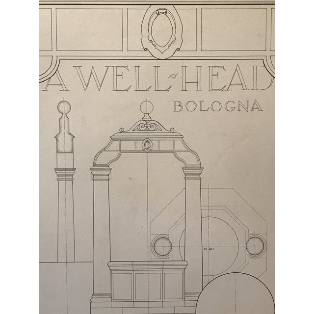 "Drawing/Sketching Materials Ruth Opper 1944 Architectural Drawing ""A Well Head Bologna"" For Sale - Image 7 of 9"