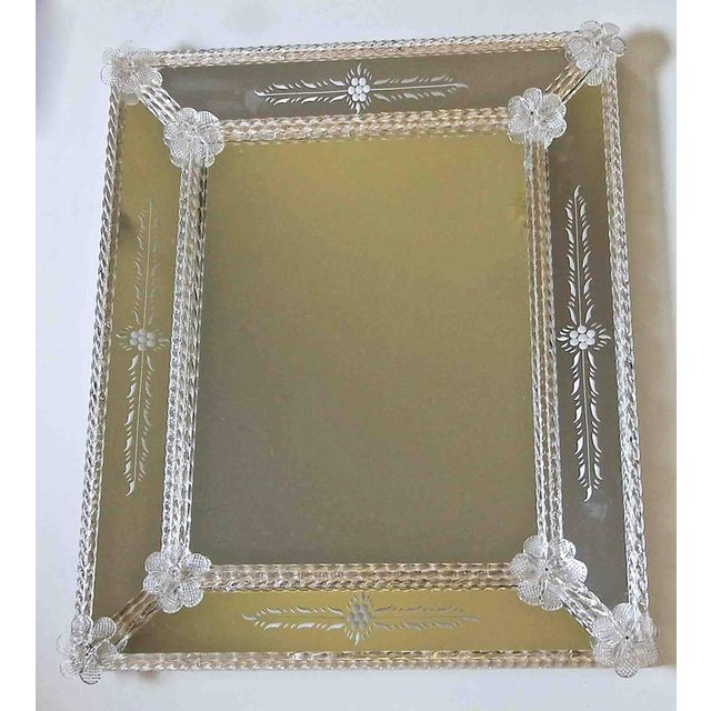 Mid-Century Modern 1960s Italian Murano Venetian Floral Etched Wall Mirror For Sale - Image 3 of 12