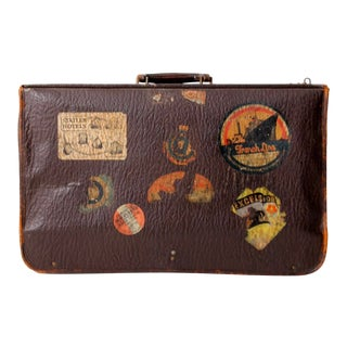Leather Suitcase With Travel Stickers Ca. 1930s For Sale