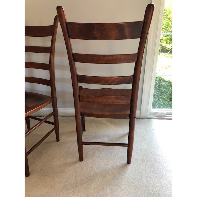 Wonderful solid Nichols and Stone set of 4 cherry ladder back dining side chairs. Owned by a little old lady (really--my...