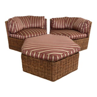 Vintage Sculptural Three Piece Wicker Chairs and Ottoman-Set For Sale
