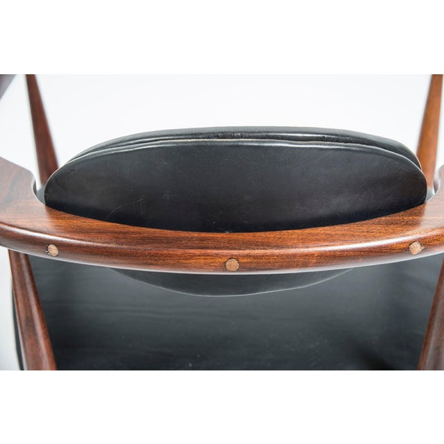Adrian Pearsall Craft Associates Mid Century Black Leather 950 Chairs - a Pair For Sale In Washington DC - Image 6 of 13