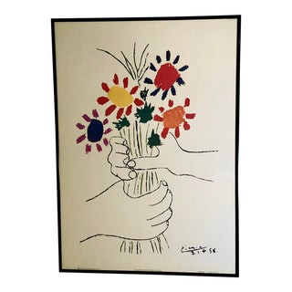 Abstract Expressionist Lithograph Hands With Flowers, by Pablo Picasso For Sale