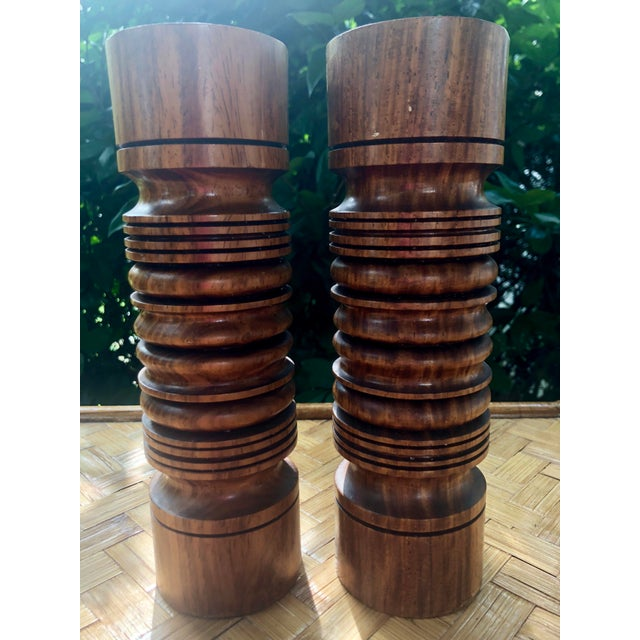 Wood Mid-Century Modern Turned Wood Candlesticks- a Pair For Sale - Image 7 of 9