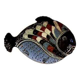 Mid-Century Modern Herman Kahler Ceramic Fish Charger For Sale