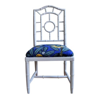 Modern Faux Bamboo Side Chair With Josef Frank Notturno Fabric For Sale