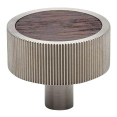 "Muir 1 1/2"" Metal and Walnut Inset Knob in Nickel"