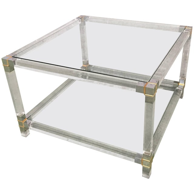 Midcentury Square Lucite Coffee Table With Chromed Metal Details For Sale - Image 13 of 13