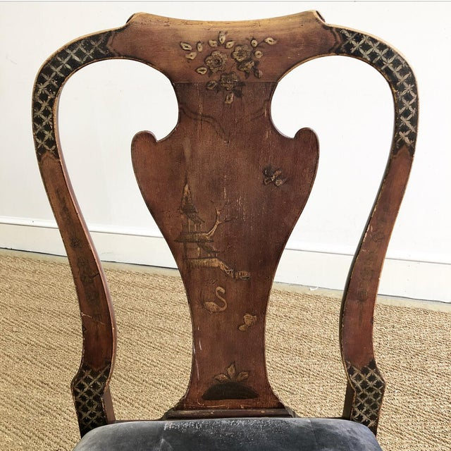 Blue Antique Chinoiserie Queen Ann Claw Foot Chair For Sale - Image 8 of 13