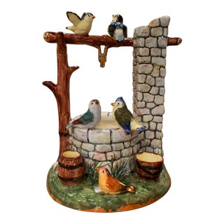 Early 20th Century Painted Ceramic Well Sculpture With Birds Stamped J. Massier For Sale