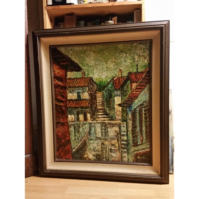 Mid-Century Impressionist Cityscape Oil Painting - Image 8 of 8