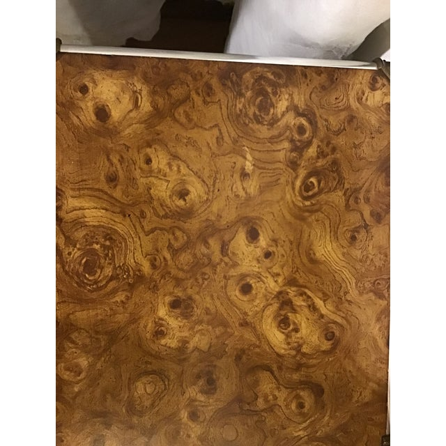Brown 1970s Hollywood Regency Faux Burl Wood Laminate Console For Sale - Image 8 of 9