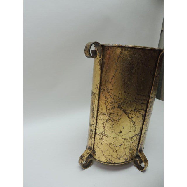 Gold Vintage Oval Waste Basket For Sale In Miami - Image 6 of 7