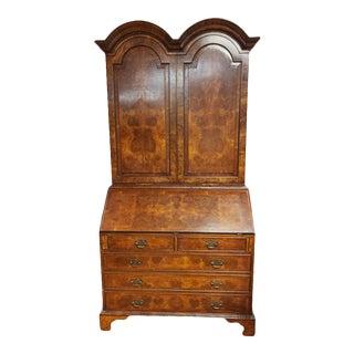 Vintage English Chippendale Style Double Bonnet Secretary For Sale