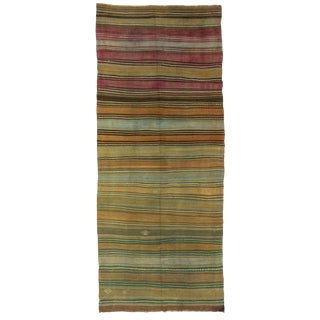 "Striped Washed Out Turkish Kilim Rug-5'4x12'3"" For Sale"