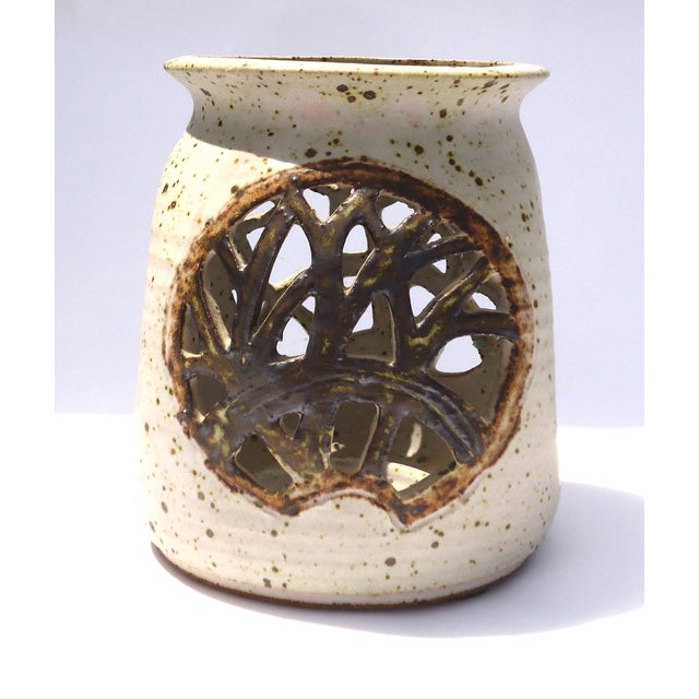 Vintage 1970s Pottery Reticulated Votive Holder - Image 5 of 6