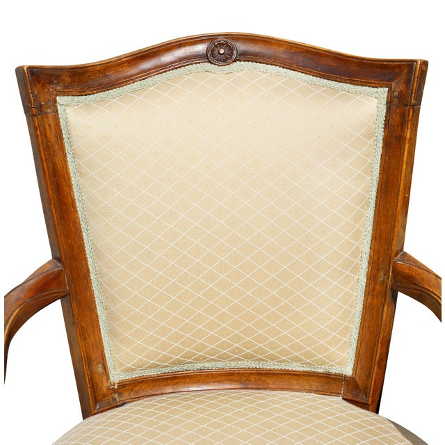 Pair of Italian Neoclassic Walnut Armchairs For Sale In Boston - Image 6 of 13