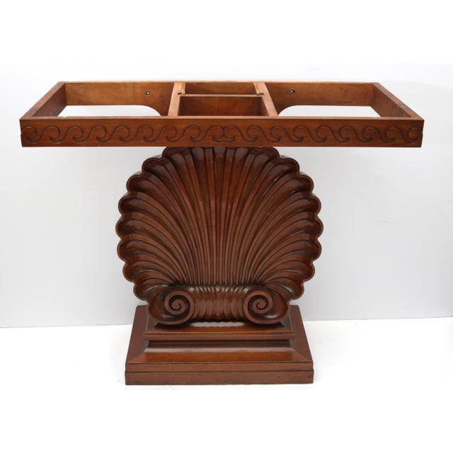 Brown Shell Motif Mahogany Console Table by Edward Wormley for Dunbar Furniture For Sale - Image 8 of 10