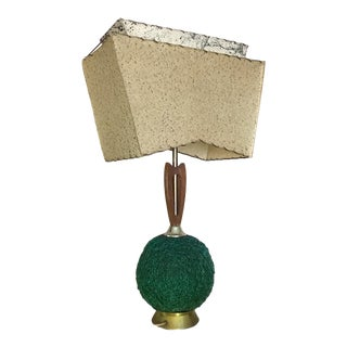 Mid-Century Green Spaghetti Table Lamp and Two-Tier Fiberglass Shade For Sale
