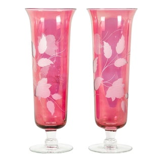 Vintage Etched Crystal Cranberry Pair of Decorative Vases For Sale