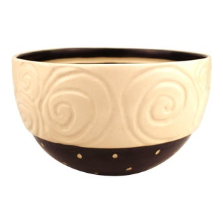 Post-Modernist Pottery Bowl with Spiral and Striped Details For Sale