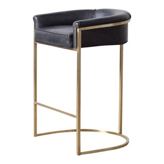 "Hollywood Regency ""Claudio"" Brass Barstool For Sale"