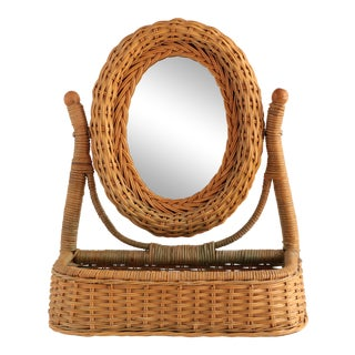 Wicker Vanity Mirror With Storage For Sale
