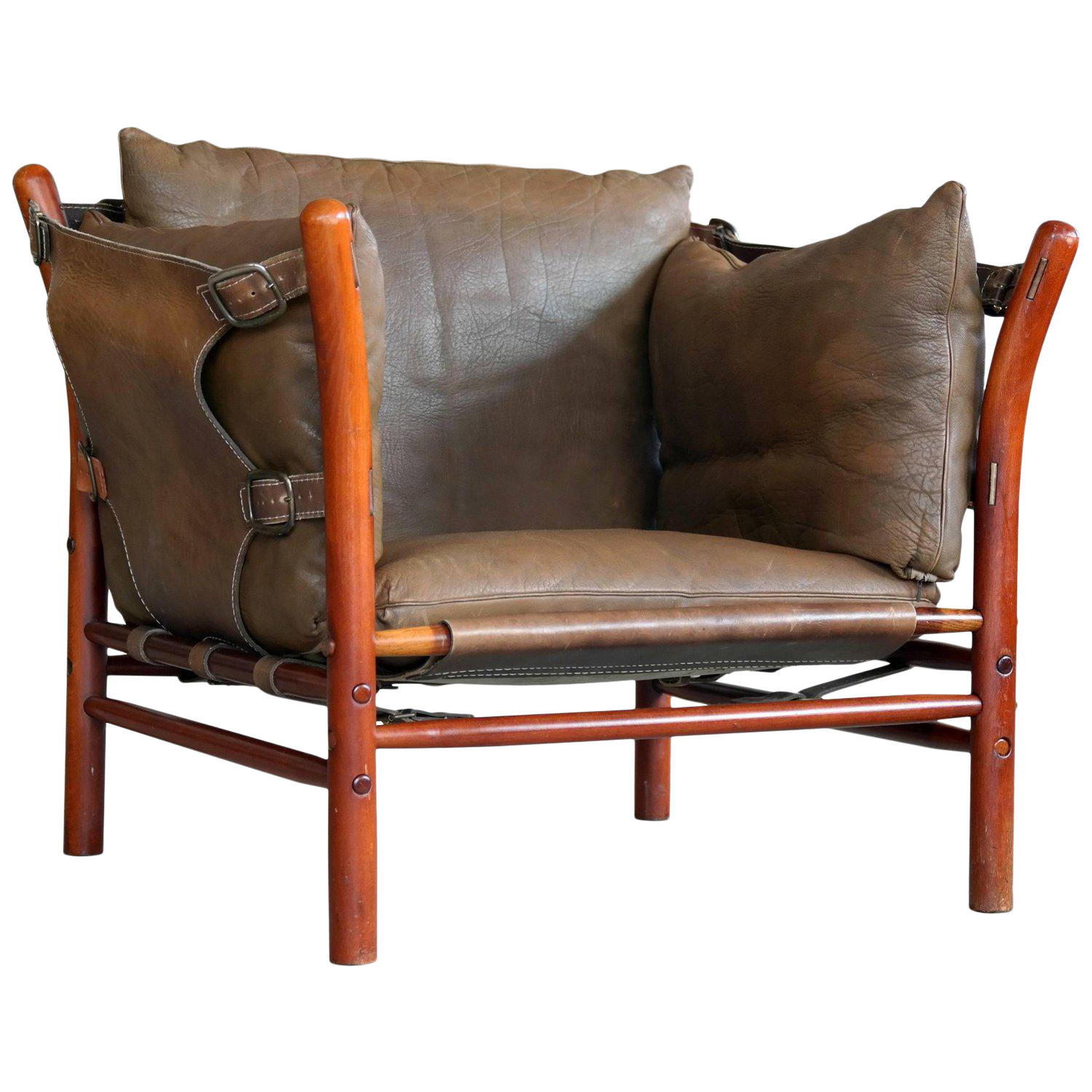Attractive Arne Norell Safari Chair Model Ilona In Brown Leather And Beech