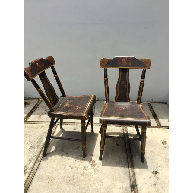 19th Century Hitchcock Style Painted Chairs - a Pair For Sale - Image 4 of 9