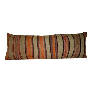 Hippie Kilim Lumbar Pillow Cover, Long Kilim Bench Pillow, King Stripe Anatolian Cushion Cover for Farmhouse 16'' X 48'' (40 X 120 Cm) For Sale