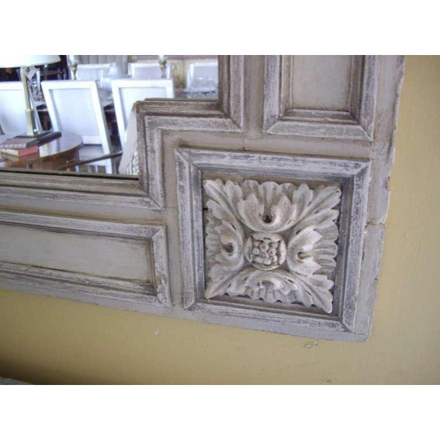 19th century painted Italian carved painted church frame with new glass. Paint has been refreshed. Circa 1830.
