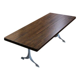 Brushed Steel Wishbone Leg & Industrial Flooring Top Table