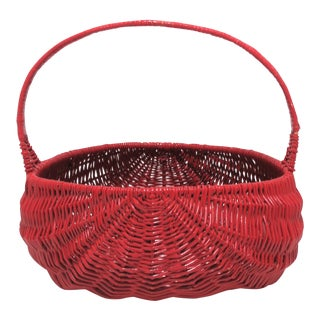 Vintage Red Lacquer Wicker Basket For Sale