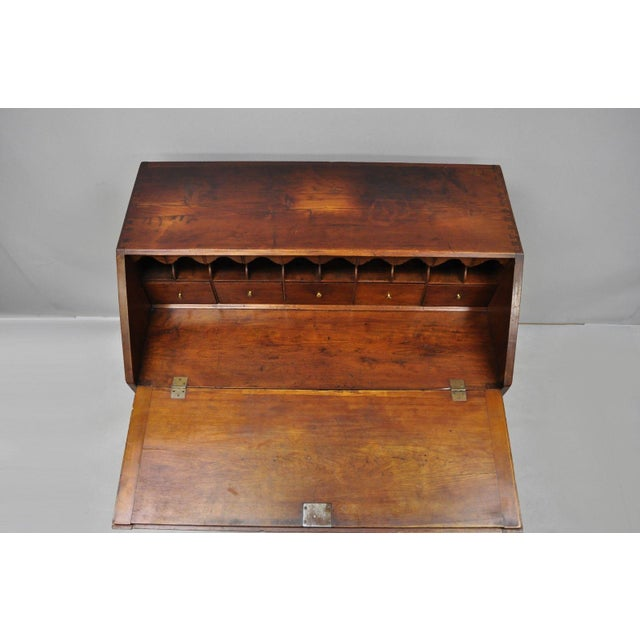 19th Century Chippendale Mahogany Slant Top Carved Ball & Claw Secretary Desk For Sale - Image 12 of 13