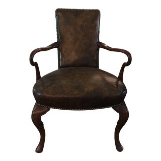 Queen Anne Wood & Leather Desk Chair