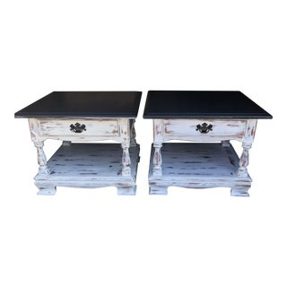 1980s Country Ethan Allen End Tables - a Pair For Sale