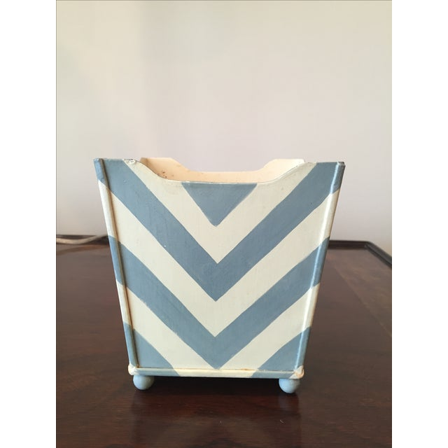 White and Blue Chevron Metal Planter - Image 5 of 6