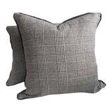 "Image of Ralph Lauren ""Hathaway Glen Plaid"" Wool Black & Cream Pillows - a Pair For Sale"