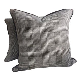 "Ralph Lauren ""Hathaway Glen Plaid"" Wool Black & Cream Pillows - a Pair For Sale"