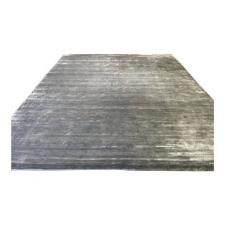 Contemporary Striped Gray Rug (9x12)