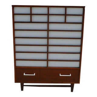 Mid-Century Modern Japanese Inspired Restored Tall Chest For Sale