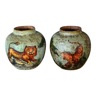 Vintage Chinese Paper Mache Tiger Vases-A Pair For Sale
